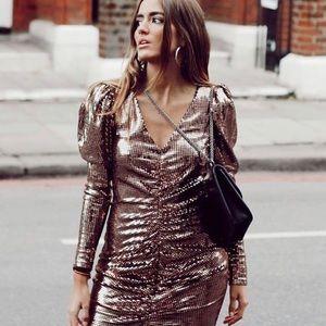 Zara ruched shimmer mini dress NWT
